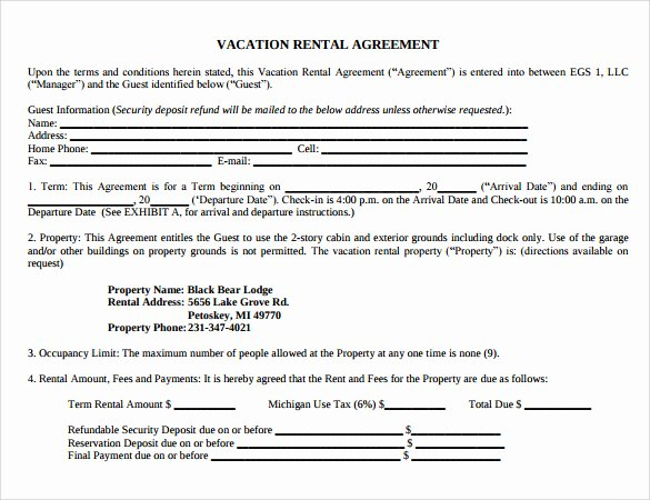 Vacation Rental Agreement Template Lovely 8 Vacation Rental Agreement Templates