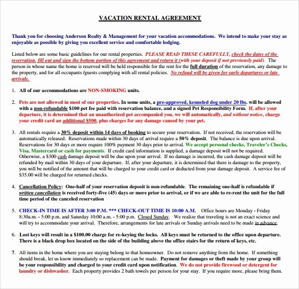Vacation Rental Agreement Template Luxury 9 Sample Vacation Rental Agreements