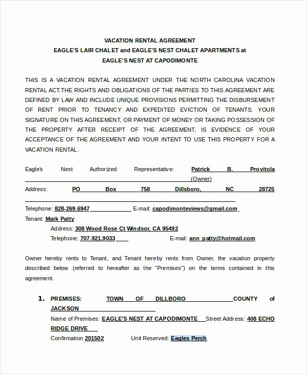 Vacation Rental Agreement Template New Rental Agreement form 14 Free Sample Example format
