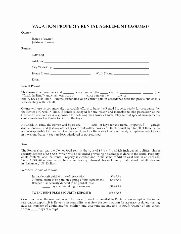 Vacation Rental Agreement Template New Vacation Rental Agreement Example