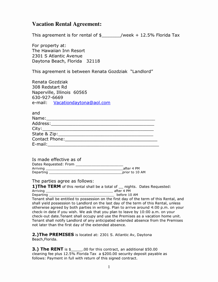 Vacation Rental Agreement Template New Vacation Rental Agreement In Word and Pdf formats