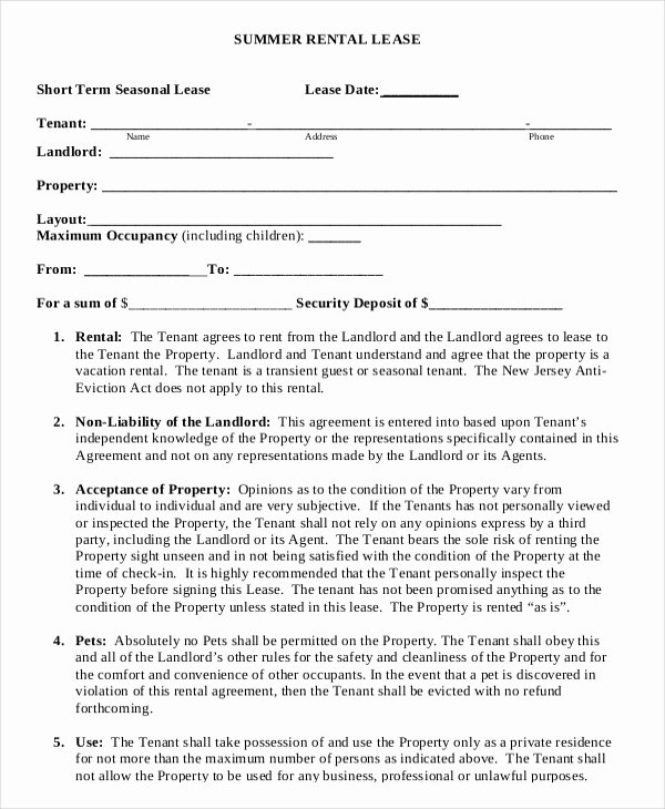 Vacation Rental Agreement Template Unique 10 Vacation Rental Agreement – Free Sample Example