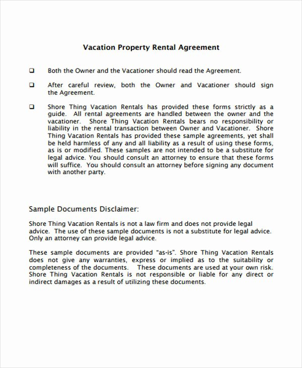Vacation Rental Agreement Template Unique 21 Sample Rental Agreement forms
