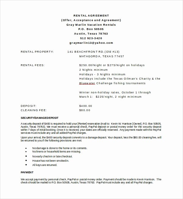 Vacation Rental Agreement Template Unique 8 Vacation Rental Agreement Templates