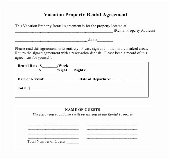 Vacation Rental Agreement Template Unique Rental Agreement Template – 21 Free Word Pdf Documents