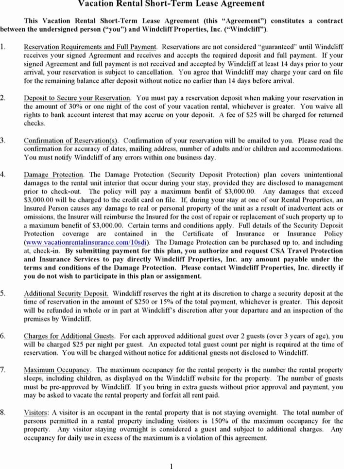 Vacation Rental Agreements Template Beautiful Download Vacation Rental Short Term Lease Agreement for