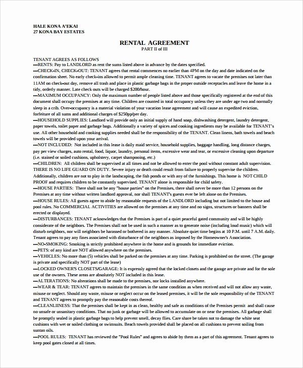Vacation Rental Agreements Template Best Of 9 Sample Vacation Rental Agreements