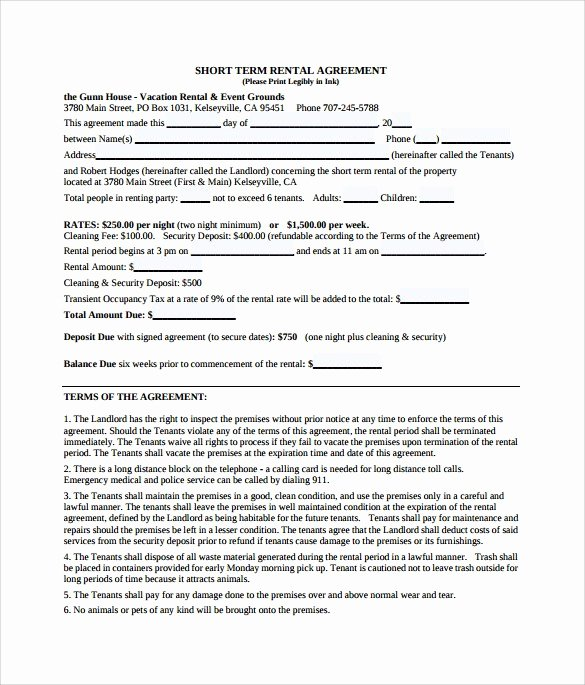 Vacation Rental Agreements Template Best Of Sample Vacation Rental Agreement Template