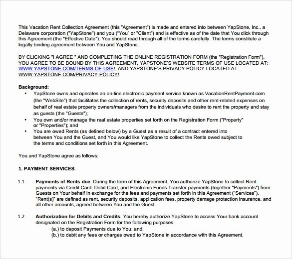 Vacation Rental Agreements Template Fresh 8 Sample Vacation Rental Agreements – Pdf Word
