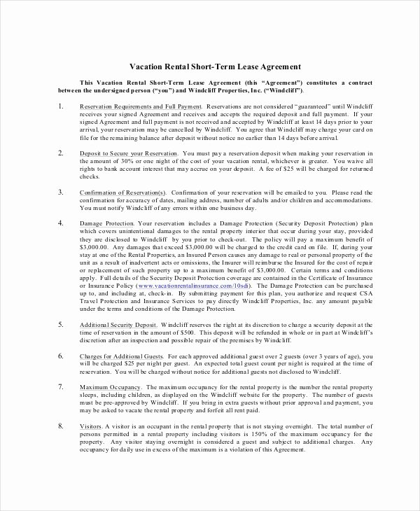 Vacation Rental Agreements Template Luxury 11 Rental Contract Templates Word Pages Docs
