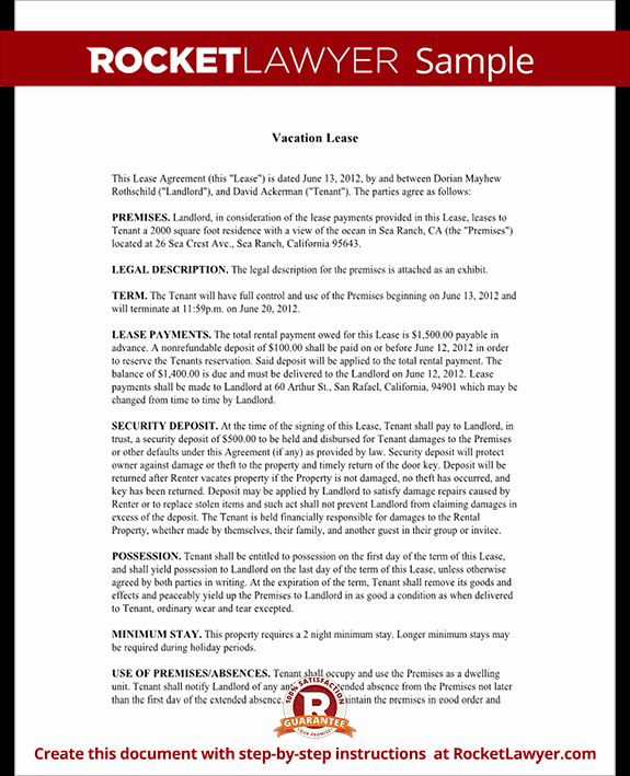 Vacation Rental Agreements Template Luxury Short Term Rental Lease Vacation Lease Agreement Template