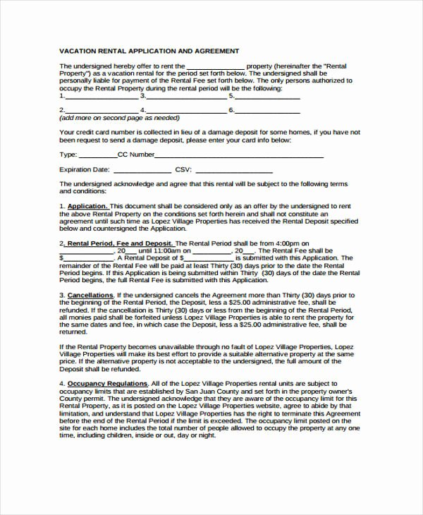 Vacation Rental Agreements Template New 21 Sample Rental Agreement forms