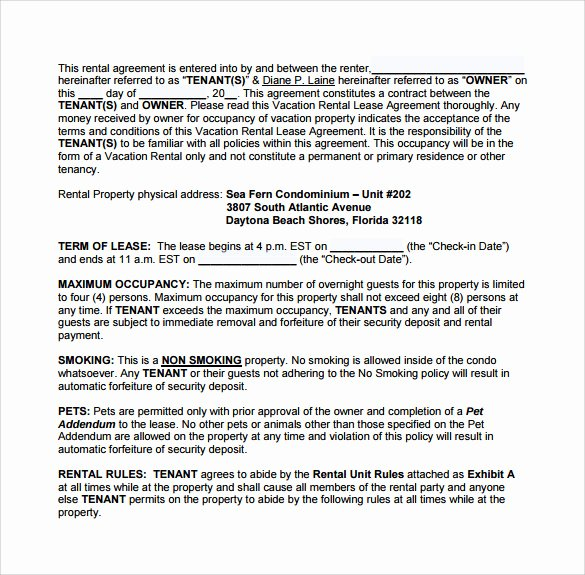 Vacation Rental Agreements Template New 8 Vacation Rental Agreement Templates