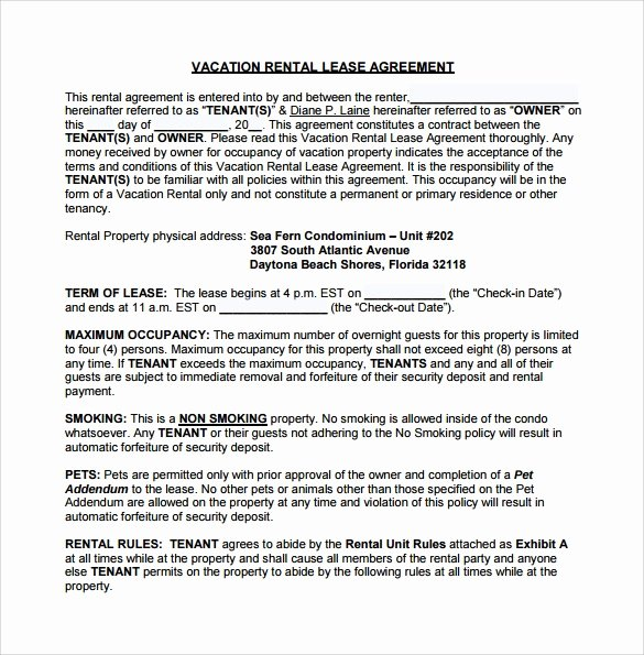 Vacation Rental Agreements Template New Vacation Rental Agreement 10 Samples Examples & format