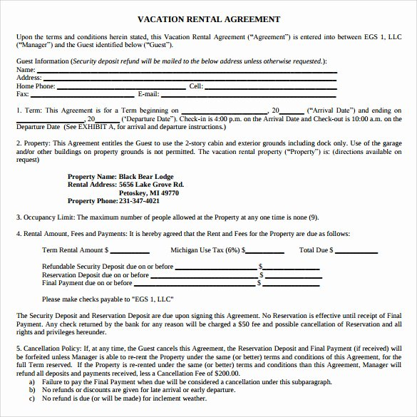 Vacation Rental Agreements Template Unique 8 Vacation Rental Agreement Templates – Samples Examples