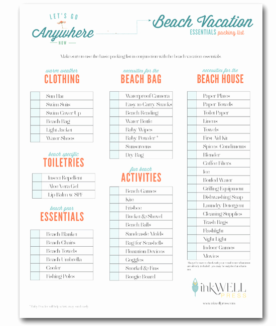 Vacation Rental Checklist Template Awesome Free Download Travel Packing Checklist