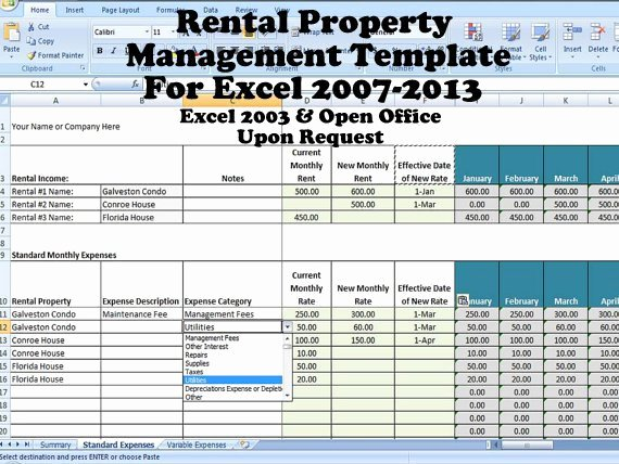rental property management template