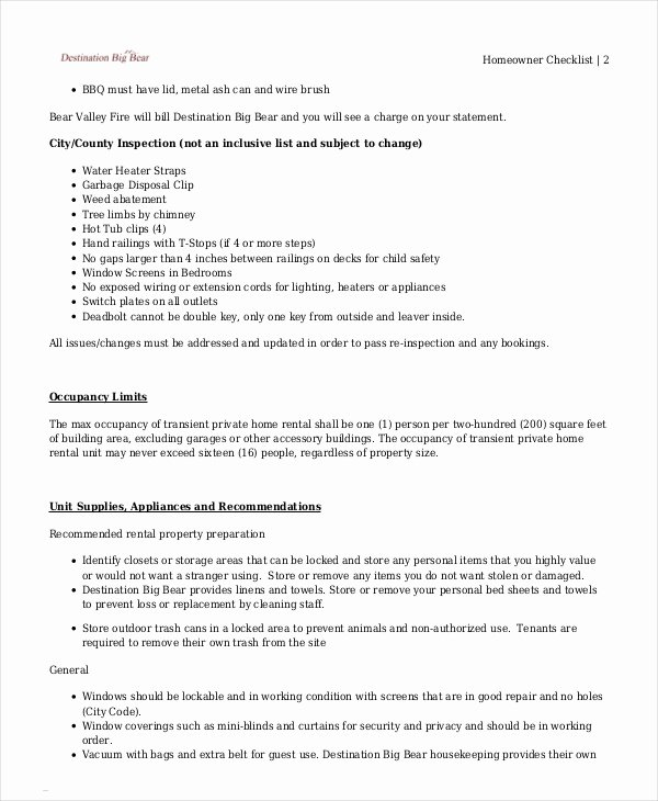 Vacation Rental Checklist Template Unique Vacation Checklist Template 12 Free Pdf Documents