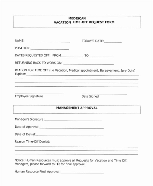 Vacation Request form Template Elegant Time F Request forms Sarahepps