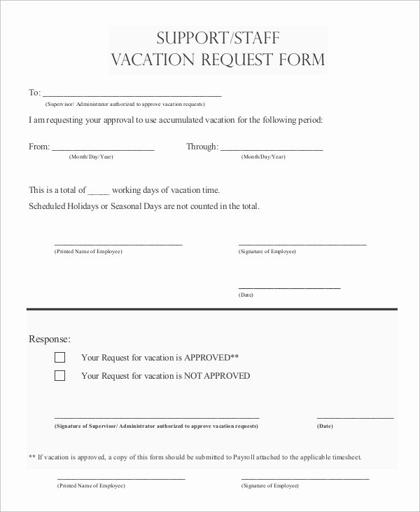 Vacation Request form Template Inspirational Sample Vacation Request form 8 Examples In Pdf Word