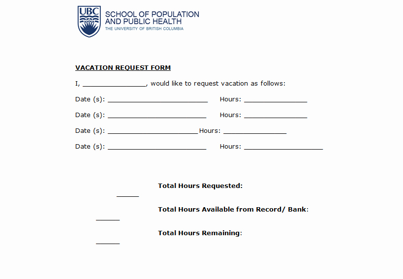 Vacation Request form Template Lovely 4 Request form Templates Excel Xlts