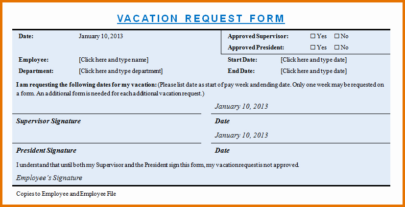 Vacation Request form Template Lovely Vacation Request form Templatereference Letters Words