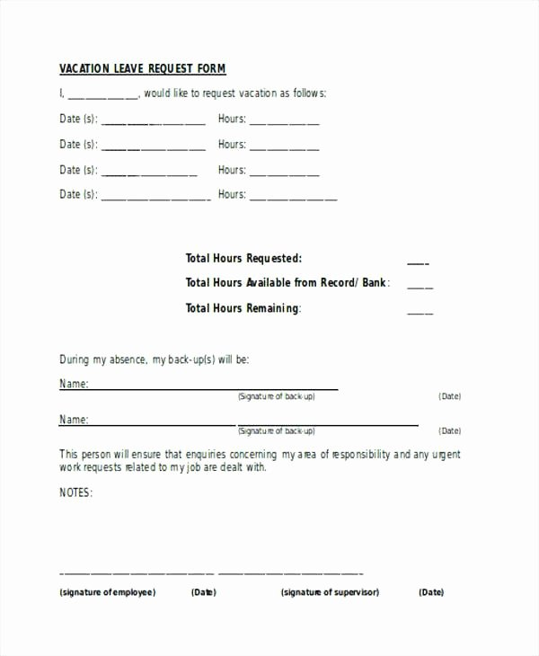 Vacation Request form Template Luxury Employee Vacation T form forest Time F Template