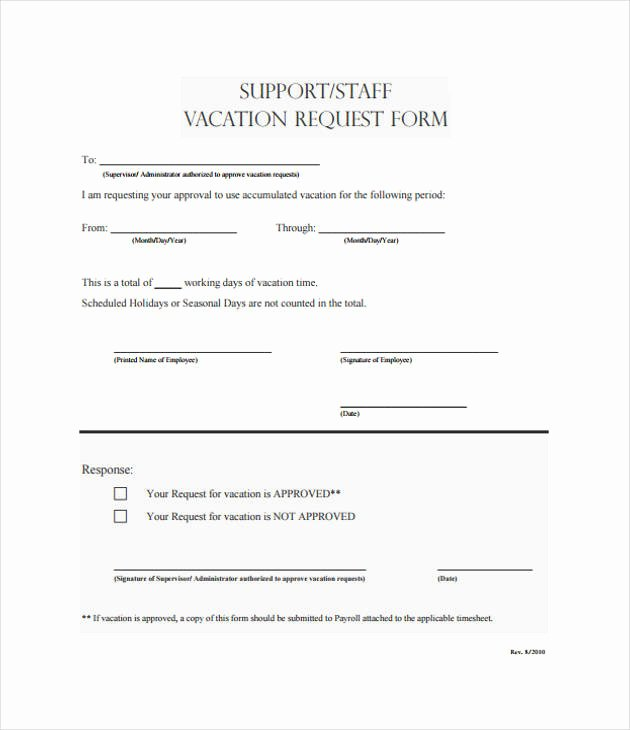 Vacation Request form Template New Request form Template