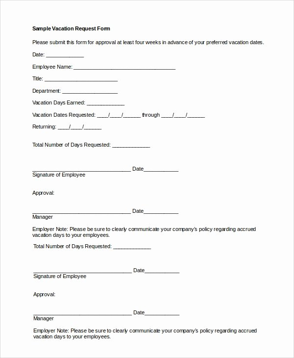 Vacation Request form Template New Sample Vacation Request form 8 Examples In Pdf Word