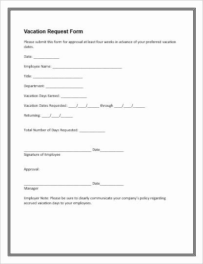 Vacation Request form Template Unique Employee Vacation Leave Request and Pto forms