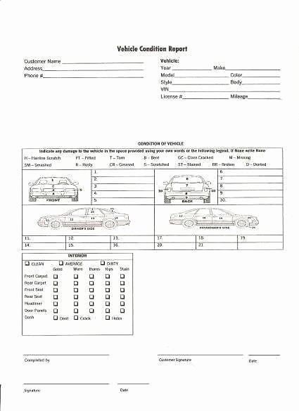 Vehicle Condition Report Template Inspirational 5 Vehicle Condition Reports Word Excel Templates