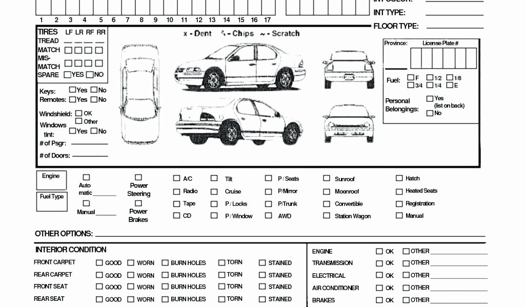 Vehicle Condition Report Template Inspirational Vehicle Inspection Report Template Download Checklist form