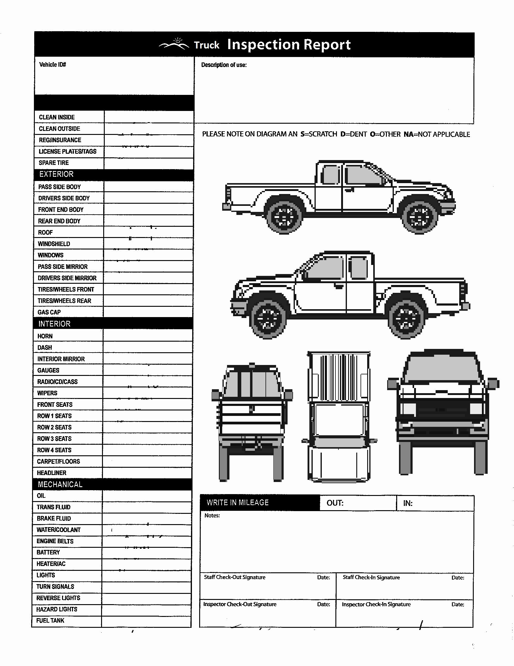 Vehicle Inspection Checklist Template Fresh Checklist Printable Vehicle Inspection Checklist Template