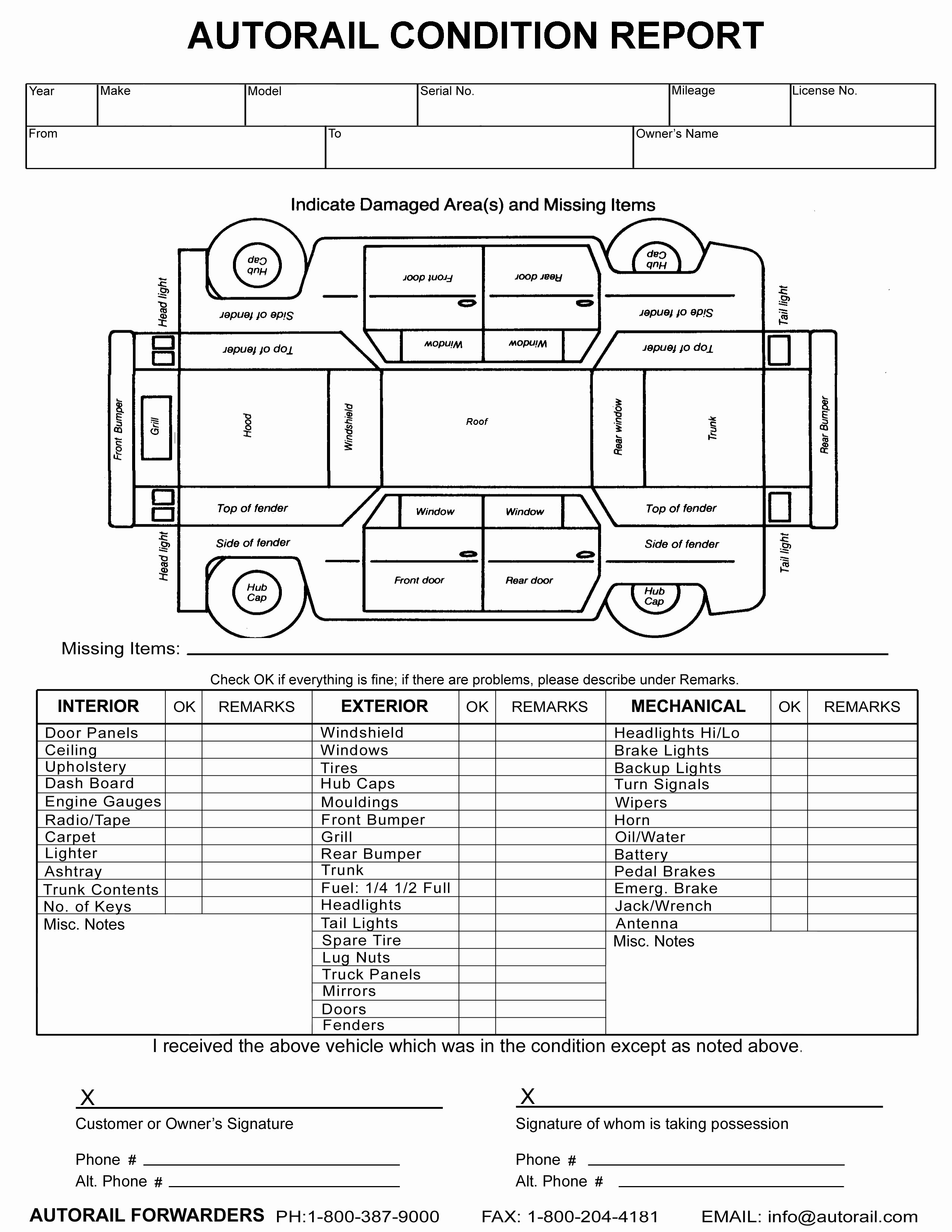 Vehicle Inspection form Template Fresh form Vehicle Condition Report form Vehicle