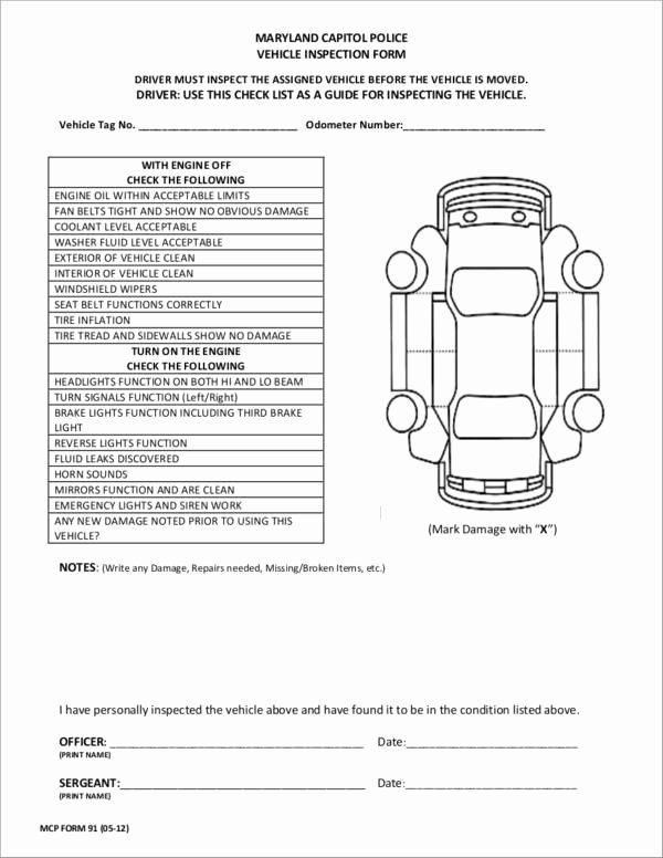 vehicle checklist template