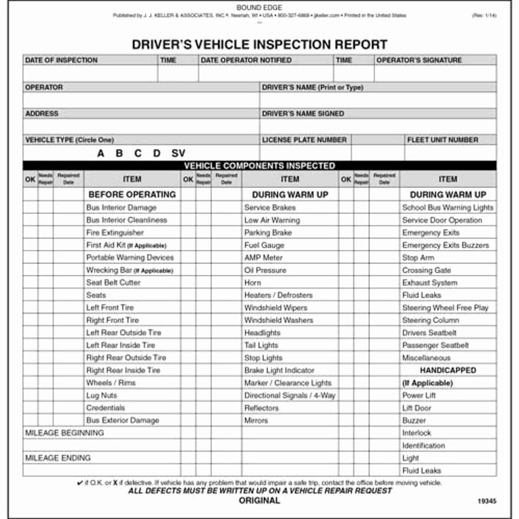 Vehicle Inspection Report Template Best Of Driver Vehicle Inspection Report Template and Weekly