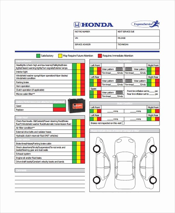 Vehicle Inspection Sheet Template Beautiful 12 Vehicle Inspection Checklist Templates Pdf Word