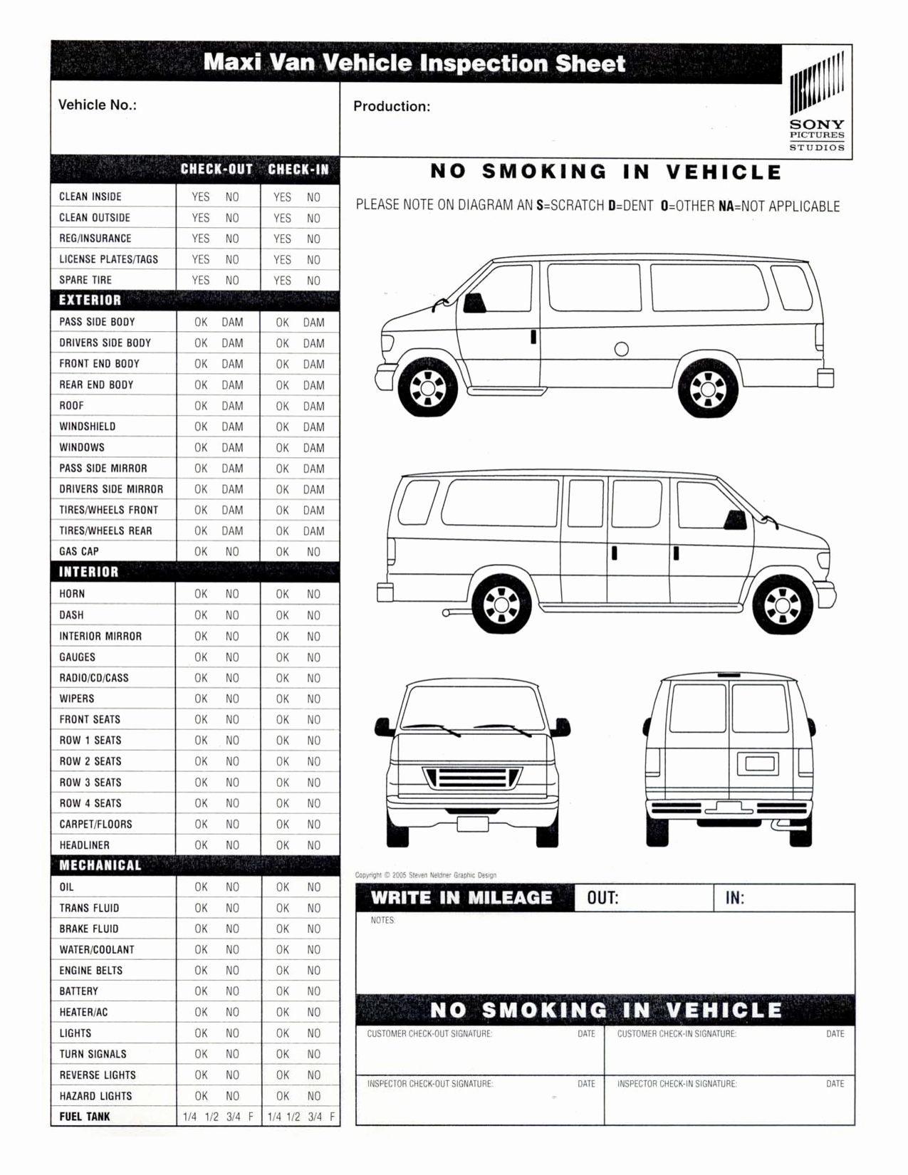 Vehicle Inspection Sheet Template Best Of 9 Best Of Van Diagram Template Gmc Van Outline