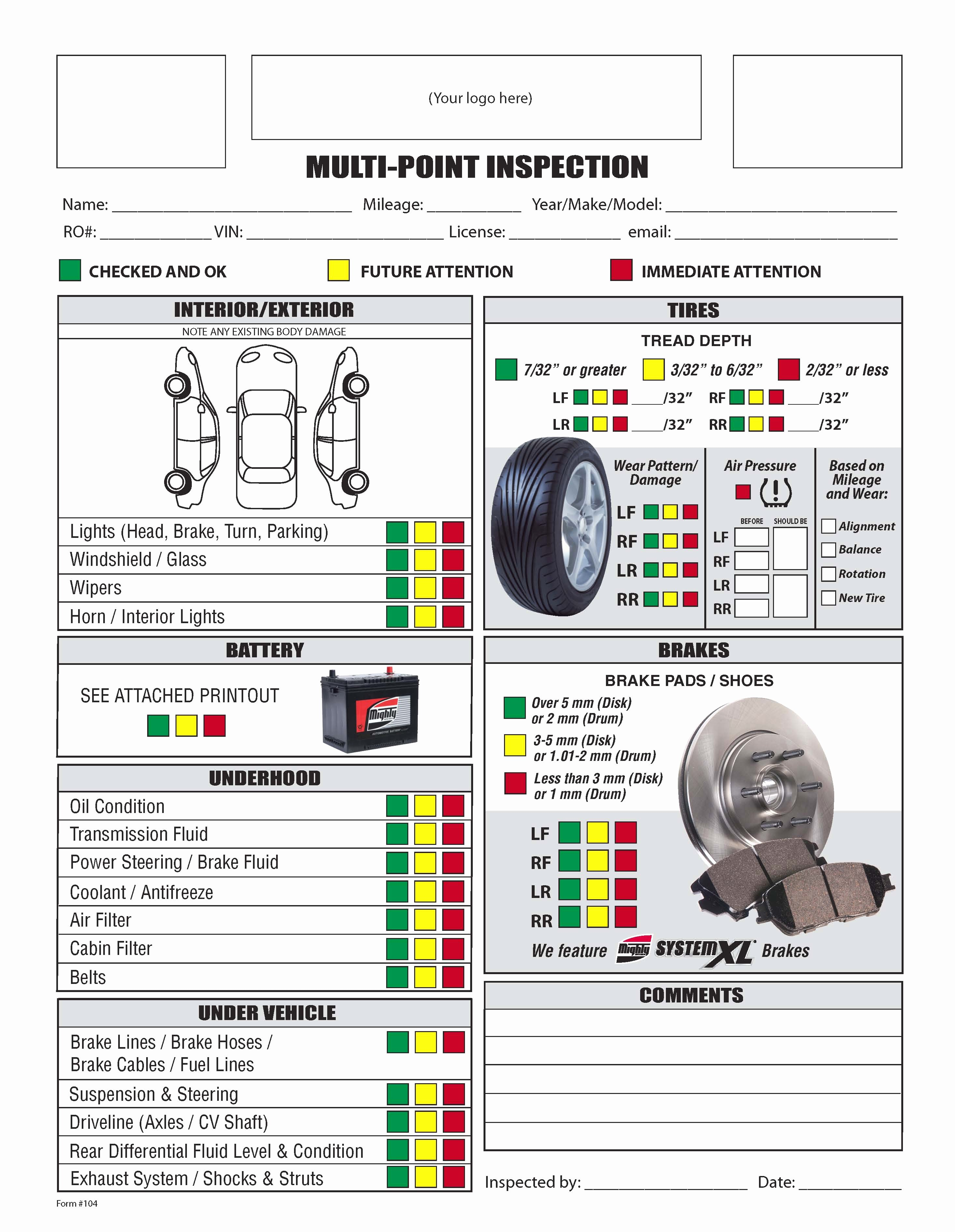 Vehicle Inspection Sheet Template Lovely Free form Mighty Auto Parts