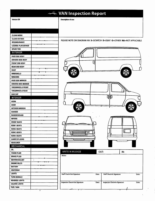Vehicle Inspection Sheet Template New 9 Best Of Van Diagram Template Gmc Van Outline