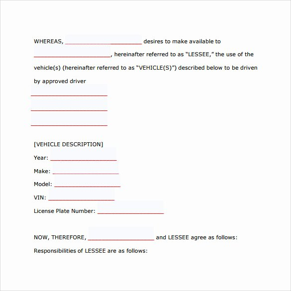 Vehicle Lease Agreement Template Awesome 8 Car Lease Agreement Templates – Samples Examples
