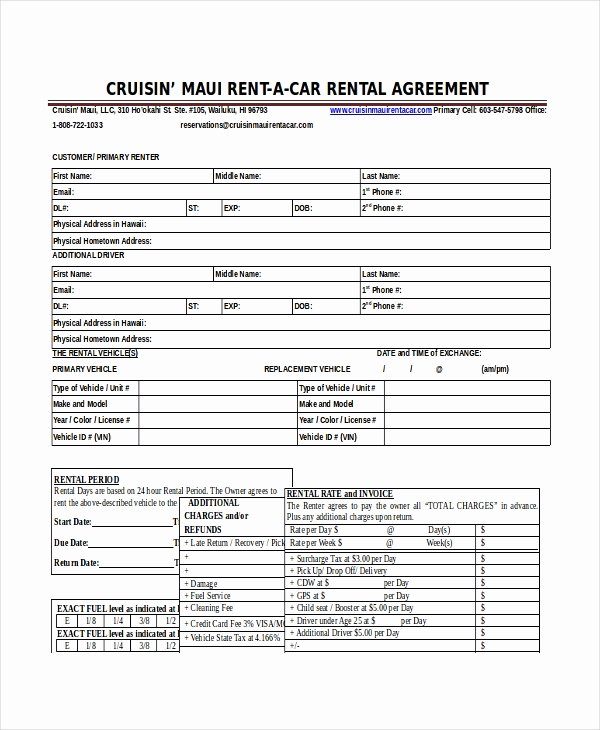 Vehicle Lease Agreement Template Beautiful 17 Car Rental Agreement Templates Free Word Pdf format