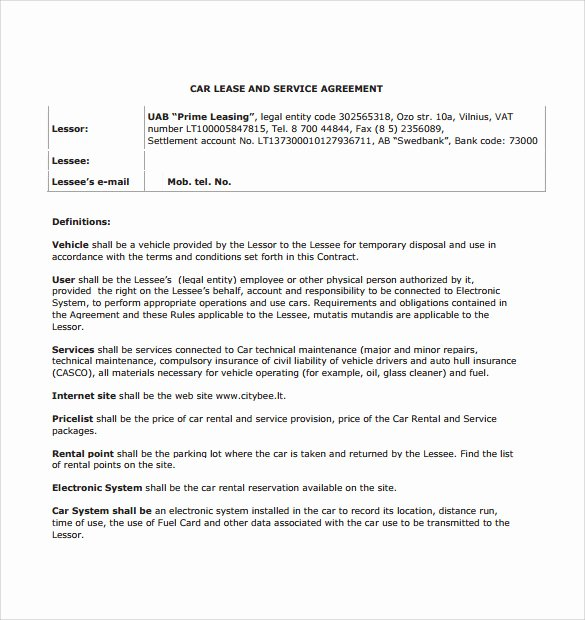 Vehicle Lease Agreement Template Beautiful 5 Sample Car Lease Agreements