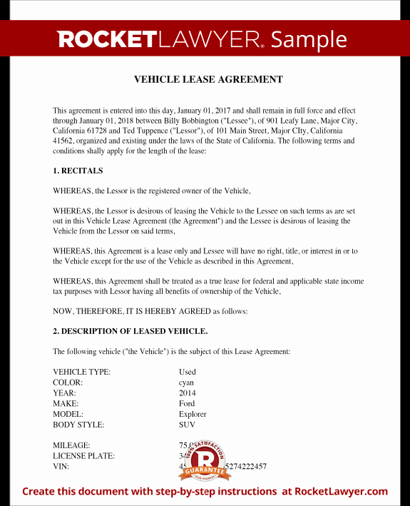 Vehicle Lease Agreement Template Elegant Vehicle Lease Agreement Sample Lease for Cars and Trucks