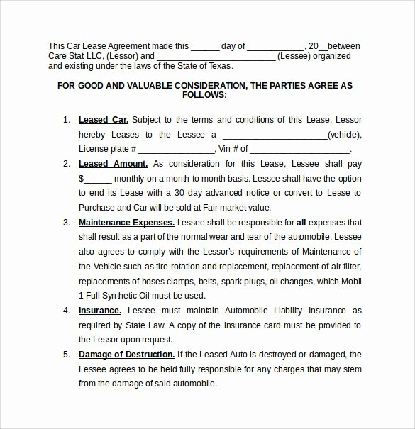 Vehicle Lease Agreement Template Fresh 8 Car Lease Agreement Templates – Samples Examples