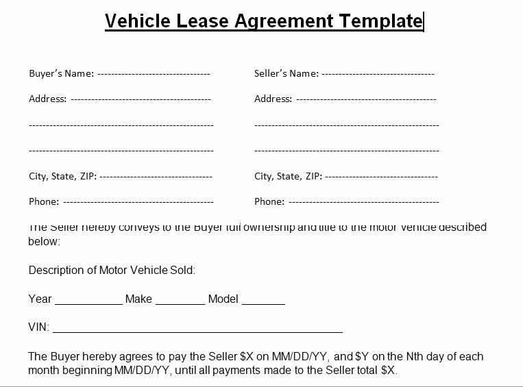Vehicle Lease Agreement Template Luxury Blank Vehicle Lease Agreement Template Word