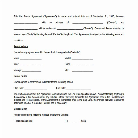 Vehicle Lease Agreement Template New 8 Car Lease Agreement Templates – Samples Examples