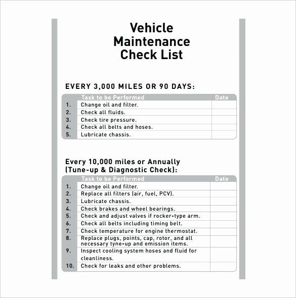 Vehicle Maintenance Checklist Template Elegant Car Maintenance Checklist form Monthly Vehicle forms