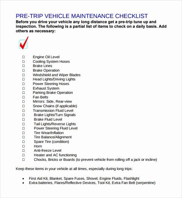 Vehicle Maintenance Checklist Template Fresh 17 Maintenance Checklist Templates – Pdf Word Pages