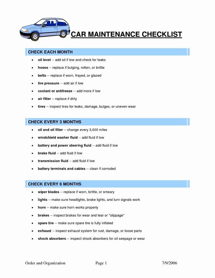 Vehicle Maintenance Checklist Template Inspirational Car Maintenance Checklist Template